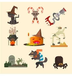 Halloween attributes characters set in flat style vector