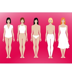 5 females standing template with removable vector