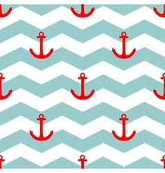 Tile sailor summer pattern with red anchor vector