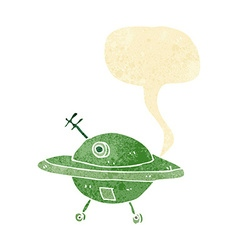Cartoon flying saucer with speech bubble vector