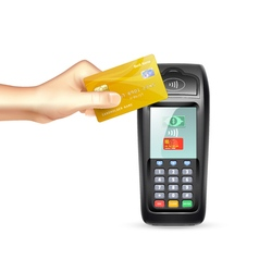 Payment terminal with credit card vector