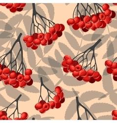 Seamless rowan berries and leaves vector image