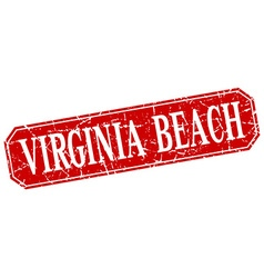 Virginia beach red square grunge retro style sign vector
