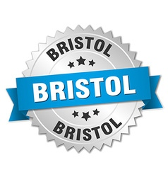 Bristol round silver badge with blue ribbon vector