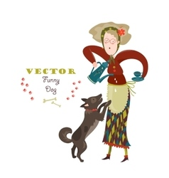 Cheerful elderly woman with funny dog vector
