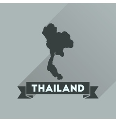 Flat icon with long shadow thailand map vector