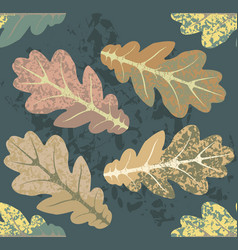 autumn pattern with oak leaves vector image vector image