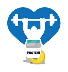 Bodybuilder fitness heart protein banana vector