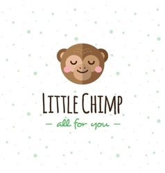 cartoon monkey head logo Flat logotype vector image vector image