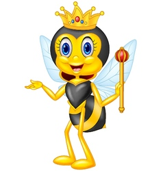 Cartoon queen bee presenting vector image