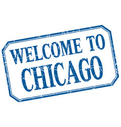 Chicago - welcome blue vintage isolated label vector