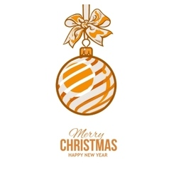 Christmas balls with orange ribbon and bows vector image