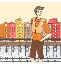 City scene and guy vector image vector image