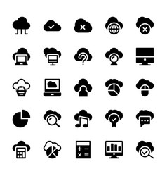 Cloud computing solid icons 1 vector