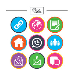 communication icons contact mail signs vector image vector image
