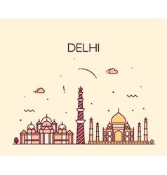 Delhi city skyline trendy line art vector
