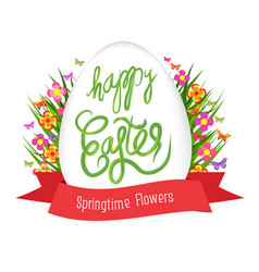 Easter egg poster with label springtime flowers vector