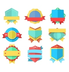Flat style badge icons set badges simple vector image vector image