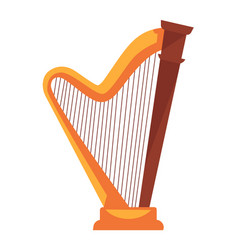 Golden harp with wooden detail isolated flat vector