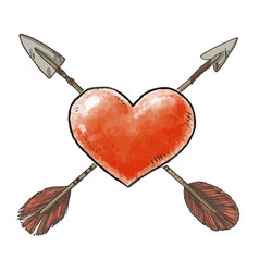 hand drawn red heart and vintage arrows vector image