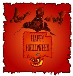 Happy halloween haunted castle with pumpkins vector