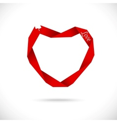 heart made from red paper ribbon vector image