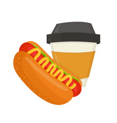 hot dog and coffee cup modern vector image