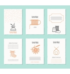 Needlework hand made card templates vector