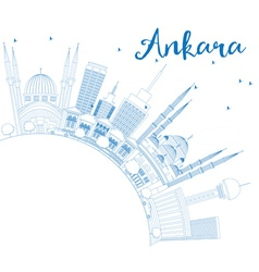 Outline Ankara Skyline with Blue Buildings vector image vector image