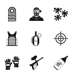 Paintball club icons set simple style vector image