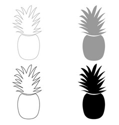 Pineapple the black and grey color set icon vector