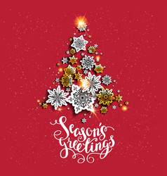 Red background holiday tree vector