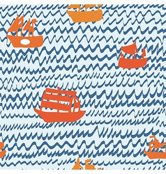 Sea and sailing ships seamless pattern hand drawn vector image vector image