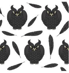 Seamless pattern with black owls and and feathers vector