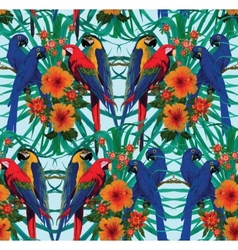 Seamless pattern with macaws and flowers vector