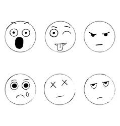 Set of emoticon doodles hand drawn sad vector