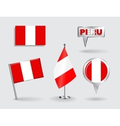 Set of peruvian pin icon and map pointer flags vector