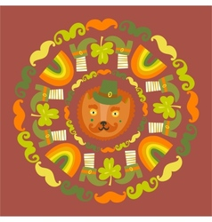 StPatricks day colorful round with cat vector image vector image