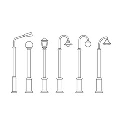 Street lighting line icons vector