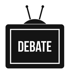 Tv with the debate inscription icon simple style vector