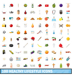 100 healthy lifestyle icons set cartoon style vector