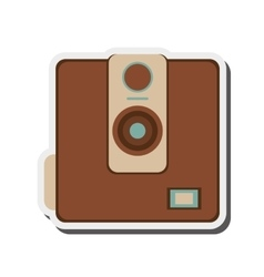 Retro photographic camera icon vector