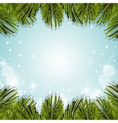 Christmas pine leaves decoration background vector