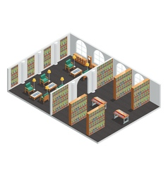 Bookstore and library isometric interior vector