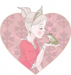 princess kissing frog vector image