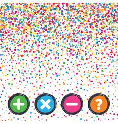 plus and minus icons question faq symbol vector image