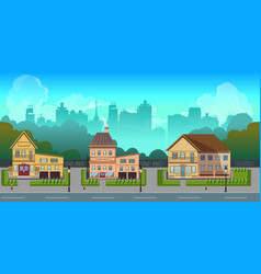 seamless cartoon city landscape unending vector image
