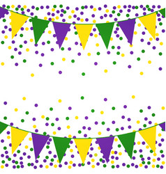 Mardi gras background with beads and flags vector