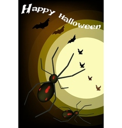 Two evil spiders on full moon background vector