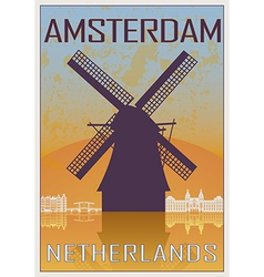Amsterdam vintage poster vector